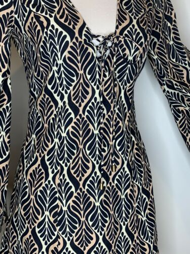 Details about  /Free People Gia Shift Mini Black Combo Dress Cotton Bell Sleeve Retro Size M NEW