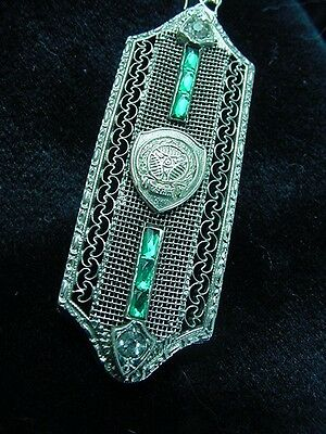 Sorority Pendant Silver Filigree Emerald Glass Baguettes Rhinestone Necklace 374