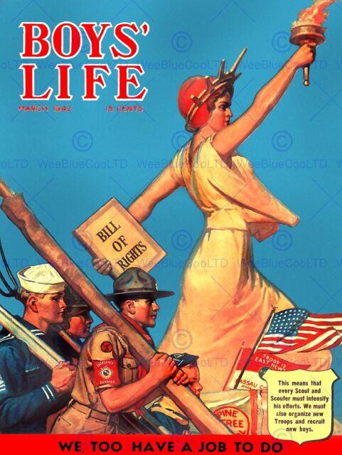 COMICS BOYS LIFE LIBERTY SCOUT BILL RIGHTS USA FINE ART PRINT POSTER ABB6397B