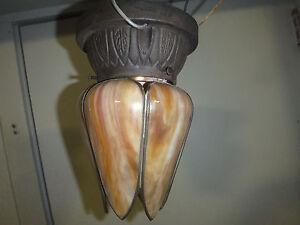 """1920s Art Deco Antique Slag Glass Ceiling Flush Mount Lamp 9"""" Tall 6"""" Diameter"""