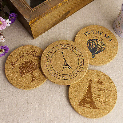 New 4pcs Cork Wood Drink Coaster Tea Coffee Cup Mat Pads Table Decor Tableware