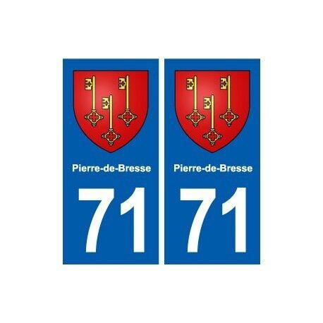 71 Pierre-de-Bresse blason autocollant plaque stickers ville arrondis