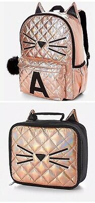 NWT Justice Gold Cat Quilted Style-Letter ~M ~Backpack /& Lunch Tote Pencil Case