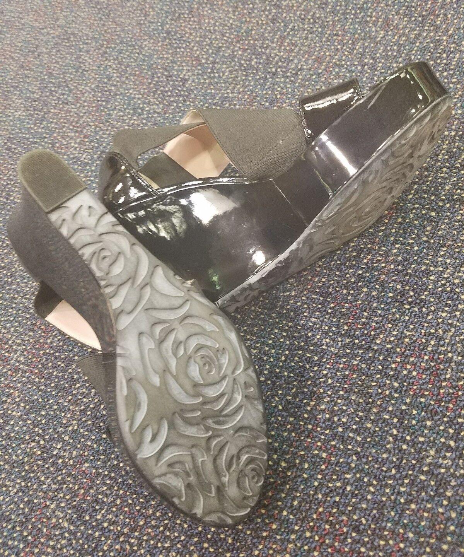 TARYN Rosa schwarz mirror patent WEDGE8.5 M M M used Italian pumps heels platforms 0bfb9d