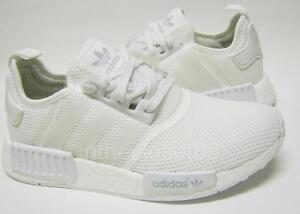 bc5d0b9a30d33 Adidas NMD R1 Runner Boost Triple White Monochrome Mens Trainers ...