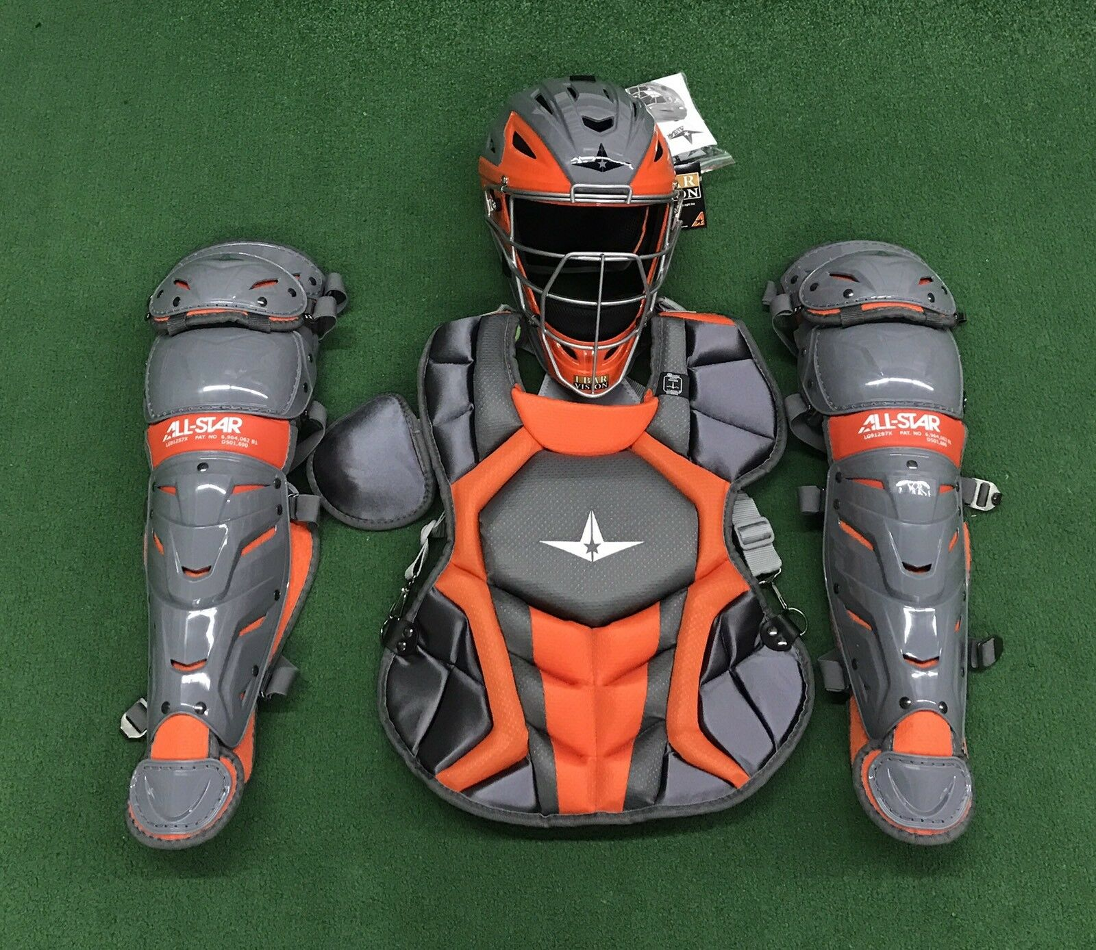 Black and orange adult catchers gear