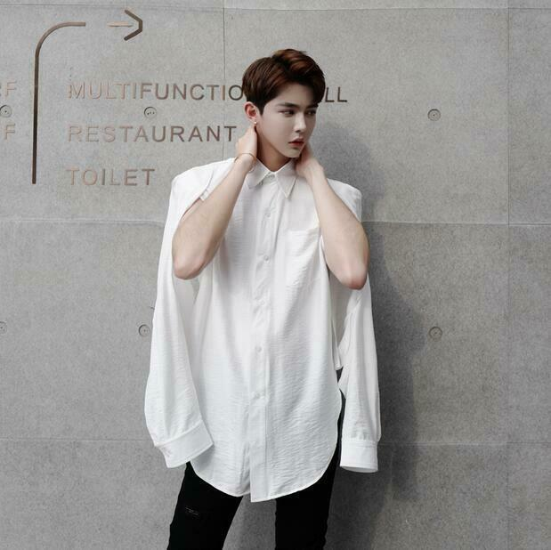 Fashion Men's Shirts Long Sleeve Hollow Out Shirts Collar Loose Clubwear Party