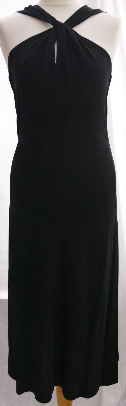 E'sensual Nero Lungo Stile Greco Strappy Vestito Aderente Festa Crociera LBD 10 nuovo senza etichetta