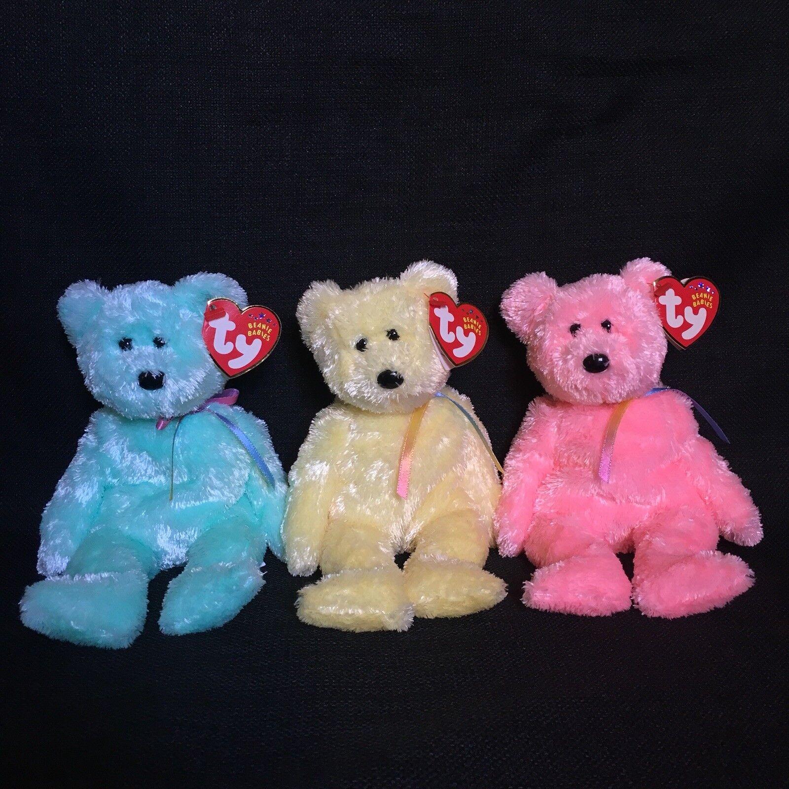 Lot 3 Ty Beanie Babies 2002 Sherbet Aqua Green Yellow Yellow Yellow Pink November 26 Set acd01b