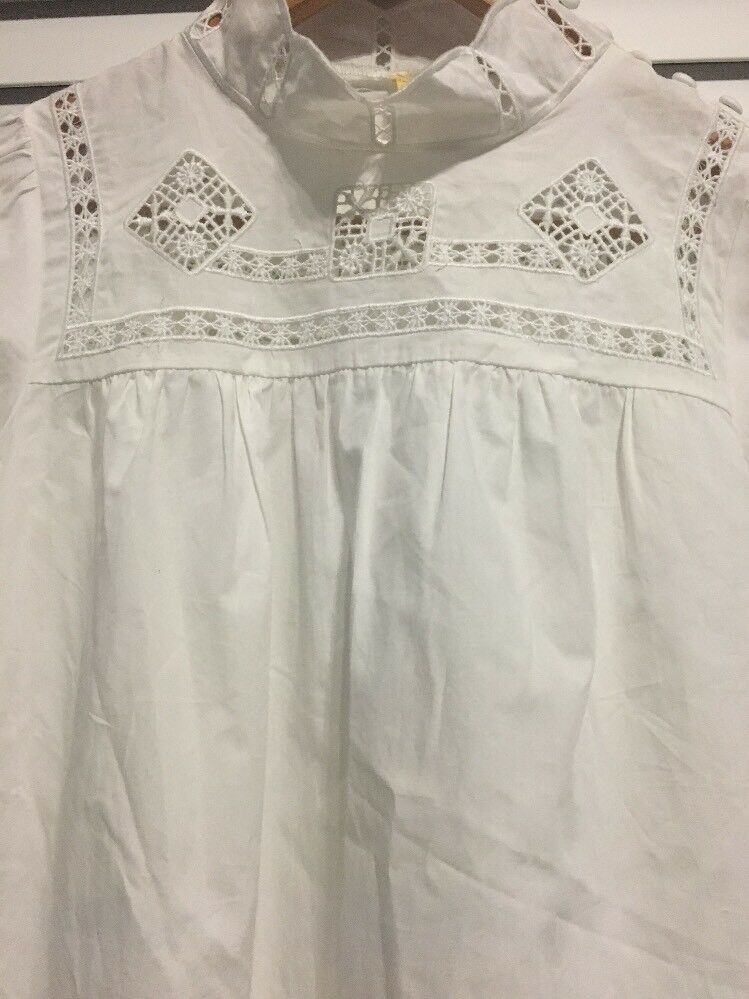 FREE PEOPLE White Another Eternity Cotton Bell Sleeve Top Size XS