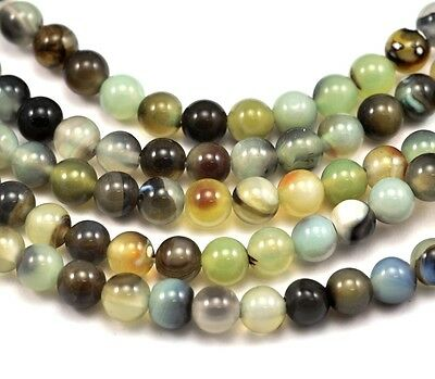 Green Black Round Agate Semi-precious Gemstone Beads