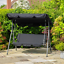 Black-Steel-2-Seater-Swinging-Hammock-Bench-Seat-amp-Canopy-Patio-Garden-Outdoor thumbnail 1