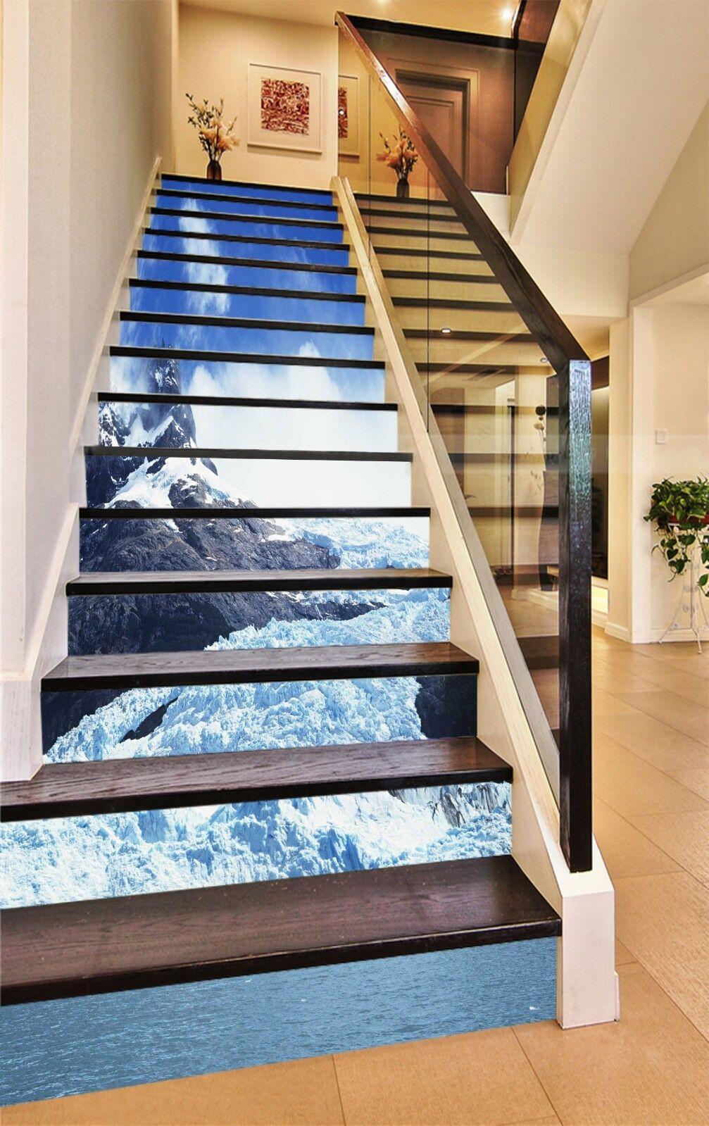 3D Snow Hills Sky Stair Risers Decoration Photo Mural Vinyl Decal Wallpaper CA