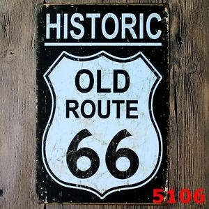 Metal-Tin-Sign-Historic-Old-Route-66-Bar-Pub-Accueil-Retro-Vintage-Poster-CAFE-ART