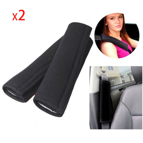 2X Black Car Safety Seat Belt Shoulder Pad Cover Cushion Harness Comfortable Pad