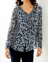 - J. Jill - 4x(plus) - Light And Breezy Deep Blue Daisy Mix Button-front Top