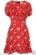 Topshop Red Meadow Flower Floral Ruffle Wrap Vtg Celebrity Tea Dress 16 44 US12