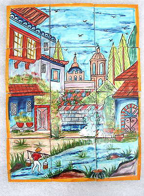 * Mexican Talavera Tiles hand painted mosaic mural OLD TOWN design free shipping