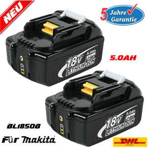 2X-BL1850B-5AH-18V-Akku-fuer-Makita-BL1830-BL1840-BL1860-194204-5-mit-Led-Anzeige