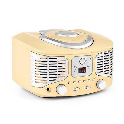 Promo Lettore CD Radio Idea Regalo AM/FM Cucina Porta Aux Vintage Anni 50 Crema