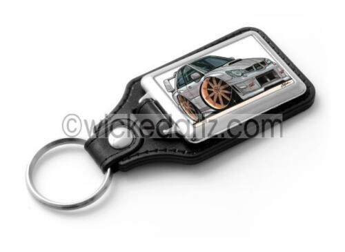 Silver with gold alloys Key Ring WickedKarz Cartoon Car Subaru Impreza STi 2006