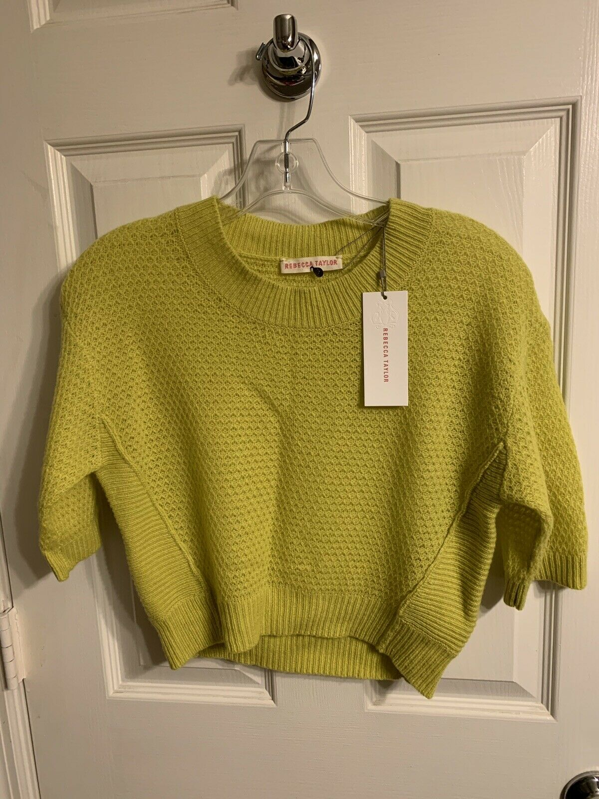 Rebecca Taylor Chkonstreuse Cashmere Crop tröja Storlek XS NWT