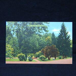 Vintage Linen Postcard Uptown Park Honesdale Pennsylvania 1940s