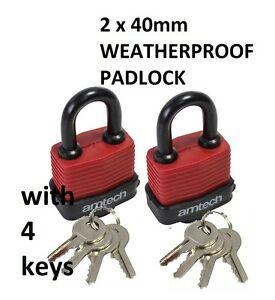 4 KEY 2 x 50MM LONG SHACKLE TALL WEATHER PROOF LAMINATED LOCK STEEL PADLOCKS