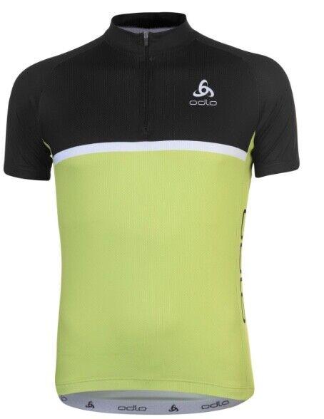 Odlo Uomo Sport Bicicletta Ruota Camicia Sport Nero Giallo Taglia L o XL Nuovo