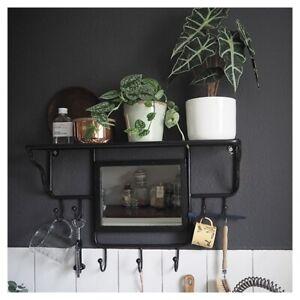 Hallway Lounge Cloakroom Kitchen Wall Mounted Coat Hook Rack With Mirror Shelf Ebay