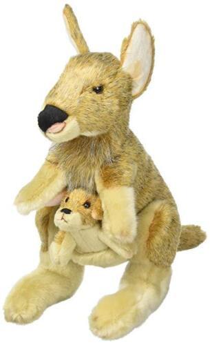 Set of 2 DEMDACO Large Kangaroo and Joey Wispy Light Brown Kids Stuffed Animal