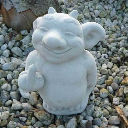 Gnom Wicht Kobold Troll Steinfigur frostsicher Stinkefinger Gartenfigur Gargoyle
