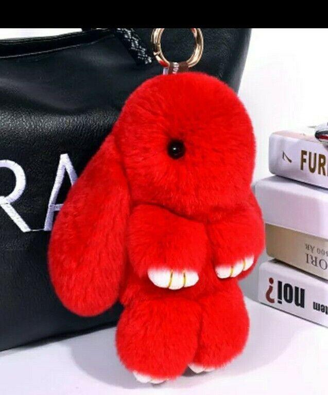 Steady Gorgeous Fluffy Red Faux Fur Bunny Rabbit Bag Charm Key Chain Ring Soft 15cm Uk