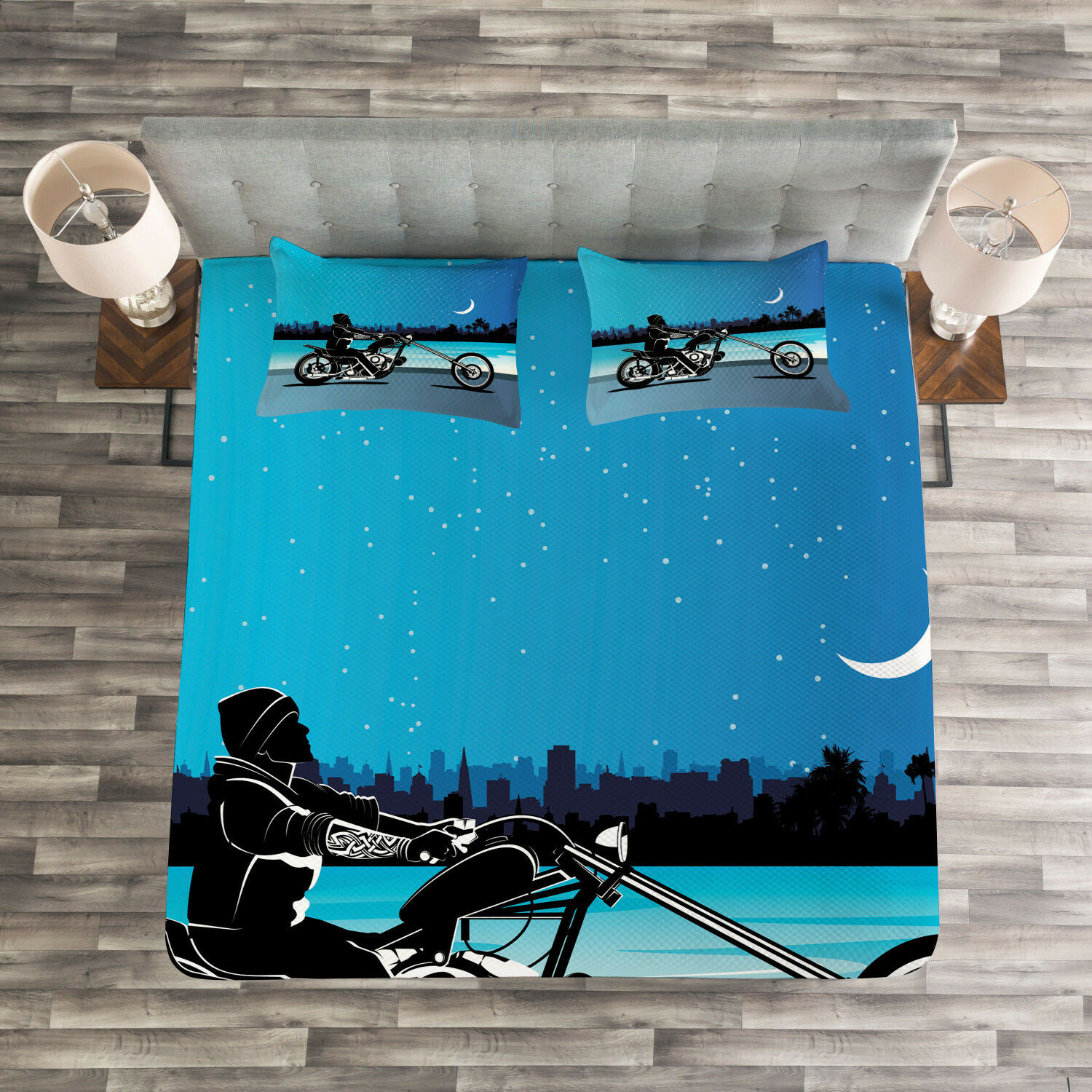 Navy Blau Quilted Bedspread & Pillow Shams Set, Chopper Motorcycle Print