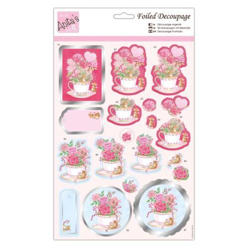 Anita/'s Metalizado Decoupage ratones una taza de té para Tarjetas y Manualidades