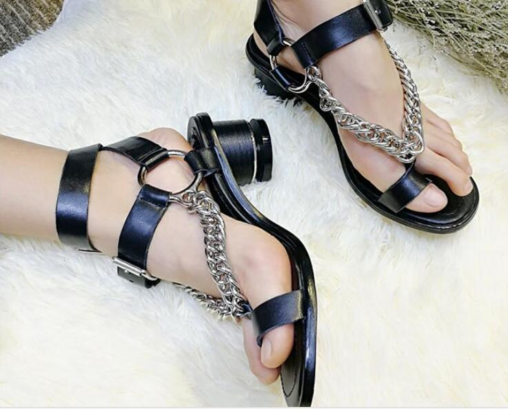 Gladiator Punk Womens Leather Metal Chain Toe Ring Shoes Punk Gladiator Cut Out Sandals SizeNew 947502