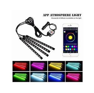 Car Under Dash Lights 12 LED Phone App Music Control Glow Strip