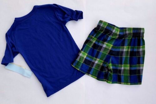Details about  /Boys 2 Pc Pajamas Summer SKULL Green BLUE Plaid Top//SHORTS 4//5 NWT