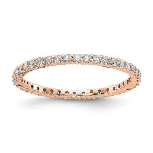 14k pink gold Round Diamond Eternity Ring Shared Prong 1.50mm Wide Size 4 G VS1