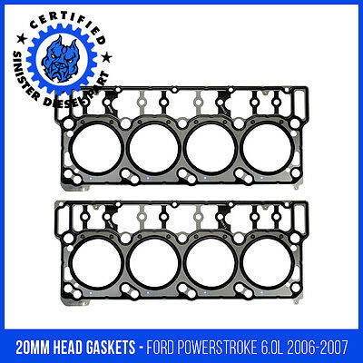 20mm Ford Sinister Diesel Heads Up Kit w//Black Diamond Head Gaskets and ARP Head Studs for 2006-2007 6.0L Powerstroke