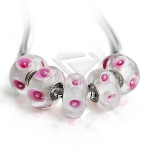5//10stk.Silber Muranoglas Perlen Lampwork Großlochperlen European Beads POLB5