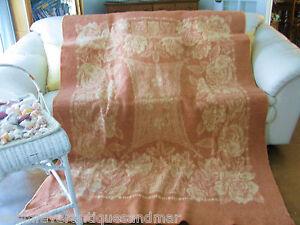 Vintage JC Penny Golden Dawn Rose Floral Brick Tan Reversible Wool Blanket 84x60