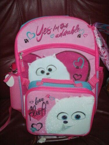 Secret Life Of Pets 2 *GIDGET* Pink School Backpack /& Lunch Kit 5 PIECE SET