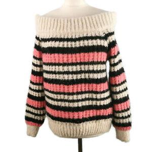 River-Island-Size-8-Light-Cream-Pink-Wide-Shoulder-Loose-Knit-Wool-Mohair-Jumper