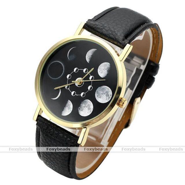 1X Mens Moon Phase Pattern Dial Case Black PU Leather Analog Quartz Wristwatch