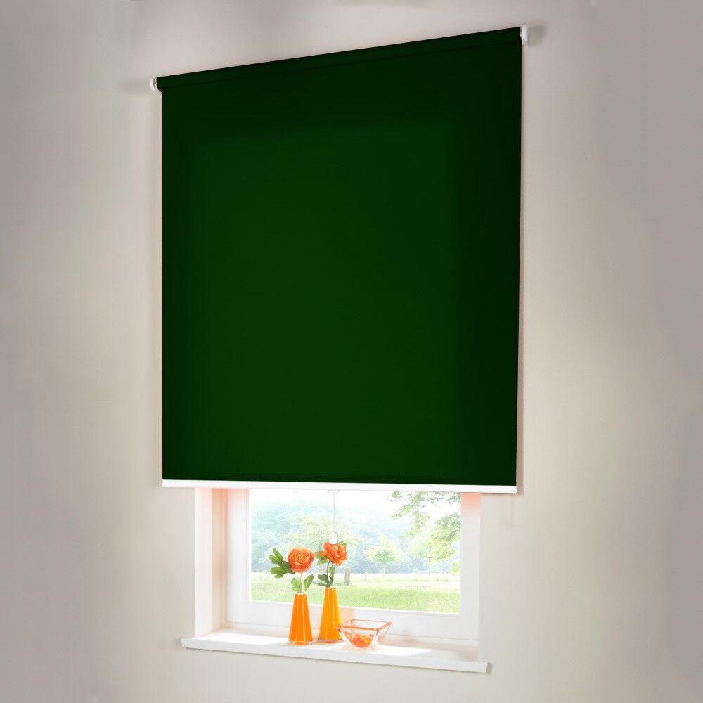 Sichtschutzrollo Mittelzugrollo Springrollo Rollo - Höhe 180 cm dunkelgrün