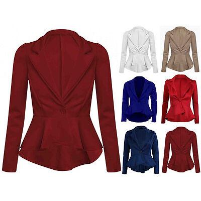 New Womens Plus Size One Button Blazer Jacket Ladies Top Smart Ponte 8-26