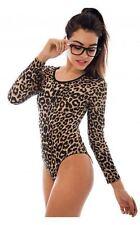 Ladies Animal Print Bodysuit Womens Leopard Long Sleeve Stretch Leotard Top 8-26