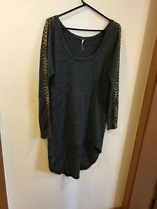 New-Free-People-Metal-Studded-Gray-Mini-Dress-Sweatshirt-sweater-Asymmetric-M