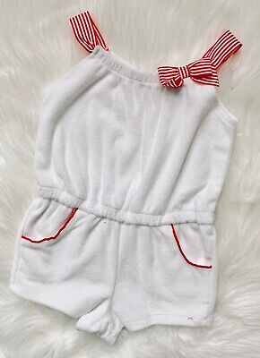 Baby Girls White Cotton Short Rompers 0-3 /& 3-6 Months Two Bows  On The Front